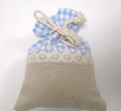 sacchetto quadri azzurro-ecru 0142