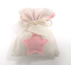 Sacchetto avorio con stella rosa