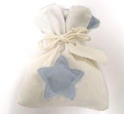 Sacchetto avorio con stella azzurro